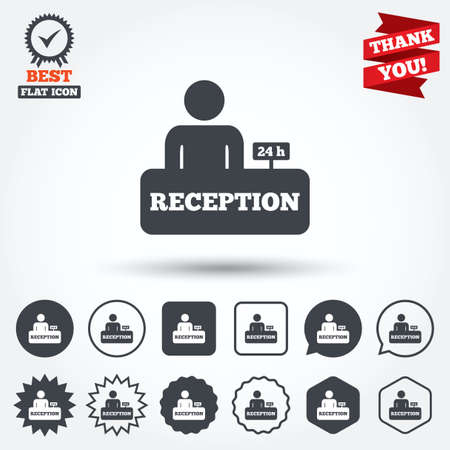 reception desk: Reception sign icon. 24 hours Hotel registration table with administrator symbol. Circle, star, speech bubble and square buttons. Award medal with check mark. Thank you. Vector