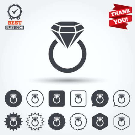 anillo de compromiso: Icono de la muestra de la joyer�a. Anillo con el s�mbolo de diamante. C�rculo, estrella, burbuja del discurso y los botones cuadrados. Medalla de la concesi�n con la marca de verificaci�n. Gracias. Vector Vectores