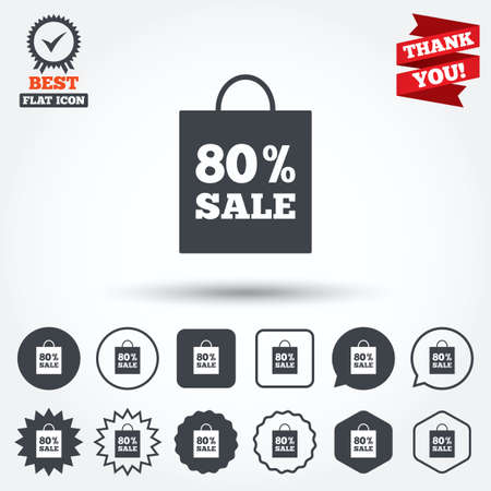 you are special: 80% sale bag tag sign icon. Discount symbol. Special offer label. Circle, star, speech bubble and square buttons. Award medal with check mark. Thank you. Vector