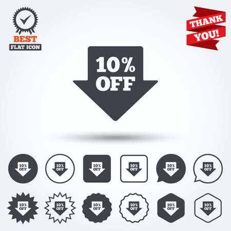 you are special: 10% sale arrow tag sign icon. Discount symbol. Special offer label. Circle, star, speech bubble and square buttons. Award medal with check mark. Thank you. Vector