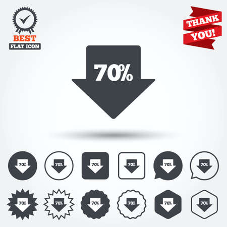 you are special: 70% sale arrow tag sign icon. Discount symbol. Special offer label. Circle, star, speech bubble and square buttons. Award medal with check mark. Thank you. Vector