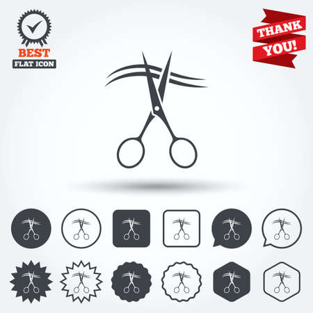 cut hair: Scissors cut hair sign icon. Hairdresser or barbershop symbol. Circle, star, speech bubble and square buttons. Award medal with check mark. Thank you. Vector