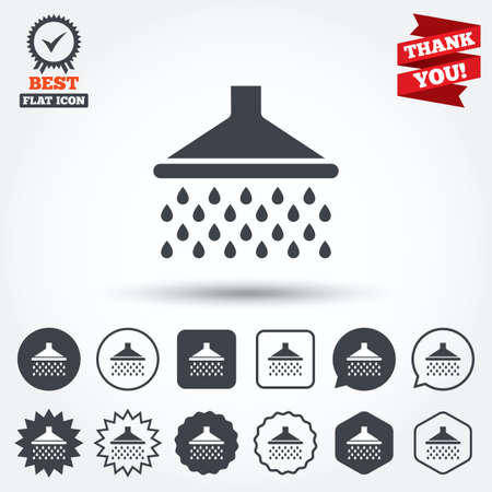 Shower sign icon. Douche with water drops symbol. Circle, star, speech bubble and square buttons. Award medal with check mark. Thank you ribbon. Vector Vector