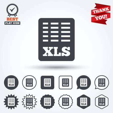 excel: Excel file document icon. Download xls button. XLS file symbol. Circle, star, speech bubble and square buttons. Award medal with check mark. Thank you ribbon. Vector