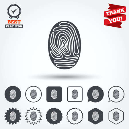authentication: Fingerprint sign icon. Identification or authentication symbol. Circle, star, speech bubble and square buttons. Award medal with check mark. Thank you ribbon. Vector Illustration