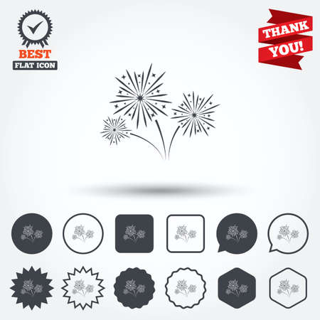 explosive sign: Fireworks sign icon. Explosive pyrotechnic show symbol. Circle, star, speech bubble and square buttons. Award medal with check mark. Thank you ribbon. Vector