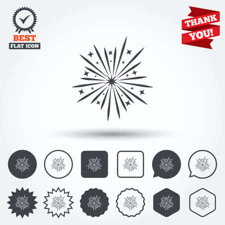 pyrotechnic: Fireworks sign icon. Explosive pyrotechnic show symbol. Circle, star, speech bubble and square buttons. Award medal with check mark. Thank you ribbon. Vector