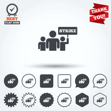 activists: Strike sign icon. Group of people symbol. Industrial action. People holding protest banner. Circle, star, speech bubble and square buttons. Award medal with check mark. Thank you ribbon. Vector