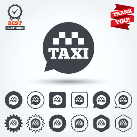 Taxi speech bubble sign icon. Public transport symbol Circle, star, speech bubble and square buttons. Award medal with check mark. Thank you. Vector Vector