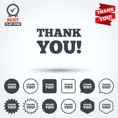 gratitudine: Grazie firmare icona. Simbolo Gratitudine. Cerchio, stella, fumetto e pulsanti quadrati. Medaglia Premio con segno di spunta. Grazie. Vettore
