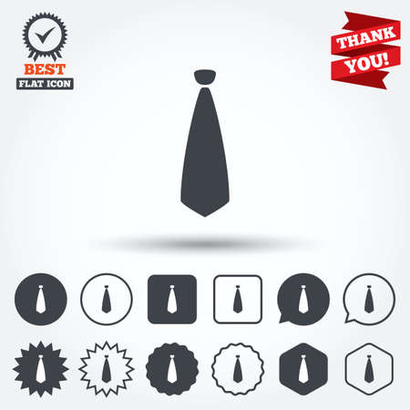 official wear: Tie sign icon. Business clothes symbol. Circle, star, speech bubble and square buttons. Award medal with check mark. Thank you. Vector