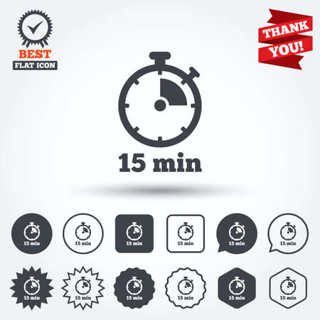Timer sign icon. 15 minutes stopwatch symbol. Circle, star, speech bubble and square buttons. Award medal with check mark. Thank you. Vector
