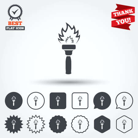 torch flame: Torch flame sign icon. Fire flaming symbol. Circle, star, speech bubble and square buttons. Award medal with check mark. Thank you. Vector
