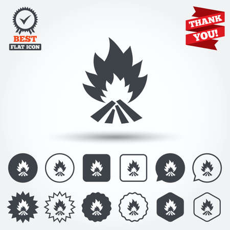 fire escape: Fire flame sign icon. Heat symbol. Stop fire. Escape from fire. Circle, star, speech bubble and square buttons. Award medal with check mark. Thank you ribbon. Vector