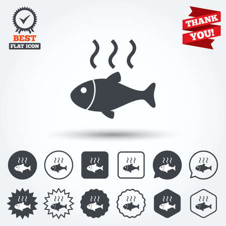 Fish hot sign icon. Cook or fry fish symbol. Circle, star, speech bubble and square buttons. Award medal with check mark. Thank you ribbon. Vector Vector