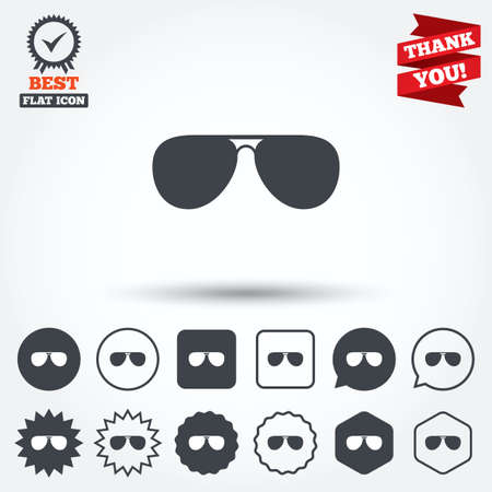 aviator: Aviator sunglasses sign icon. Pilot glasses button. Circle, star, speech bubble and square buttons. Award medal with check mark. Thank you ribbon. Vector