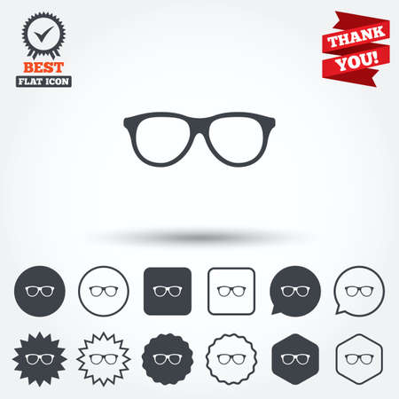 eyeglass: Retro glasses sign icon. Eyeglass frame symbol. Circle, star, speech bubble and square buttons. Award medal with check mark. Thank you ribbon. Vector