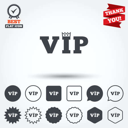 very important person: Vip sign icon. Membership symbol. Very important person. Circle, star, speech bubble and square buttons. Award medal with check mark. Thank you. Vector