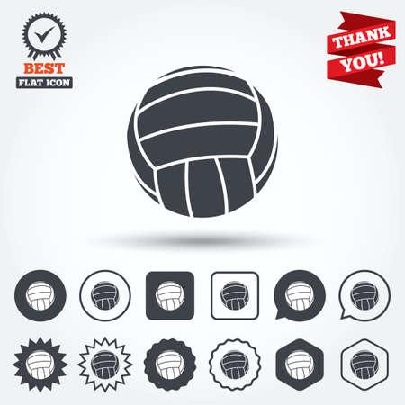 pelota de voleibol: Icono de la muestra de Voleibol. Beach deporte s�mbolo. C�rculo, estrella, burbuja del discurso y los botones cuadrados. Medalla de la concesi�n con la marca de verificaci�n. Gracias. Vector Vectores
