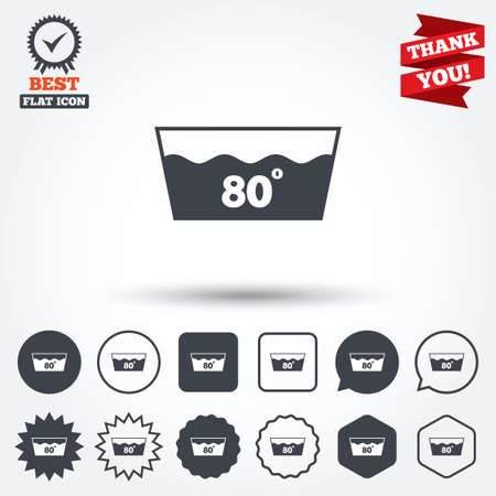 washbowl: Wash icon. Machine washable at 80 degrees symbol. Circle, star, speech bubble and square buttons. Award medal with check mark. Thank you. Vector