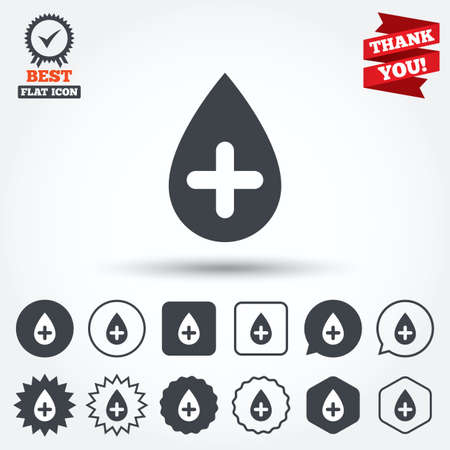 Water drop with plus sign icon. Softens water symbol. Circle, star, speech bubble and square buttons. Award medal with check mark. Thank you. Vector