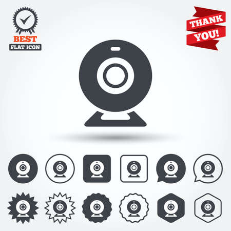 video chat: Webcam sign icon. Web video chat symbol. Camera chat. Circle, star, speech bubble and square buttons. Award medal with check mark. Thank you. Vector