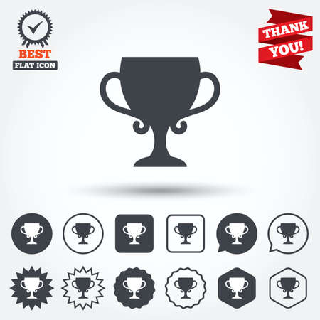 awarding: Winner cup sign icon. Awarding of winners symbol. Trophy. Circle, star, speech bubble and square buttons. Award medal with check mark. Thank you. Vector Illustration
