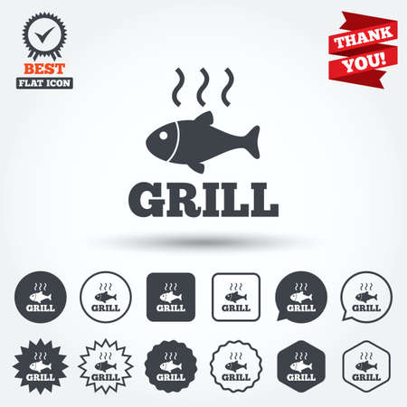 fry: Fish grill hot sign icon. Cook or fry fish symbol. Circle, star, speech bubble and square buttons. Award medal with check mark. Thank you ribbon. Vector
