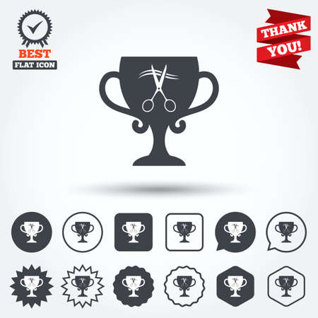 cut hair: Scissors cut hair sign icon. Hairdresser or barbershop symbol. Winner award cup. Circle, star, speech bubble and square buttons. Award medal with check mark. Thank you ribbon. Vector