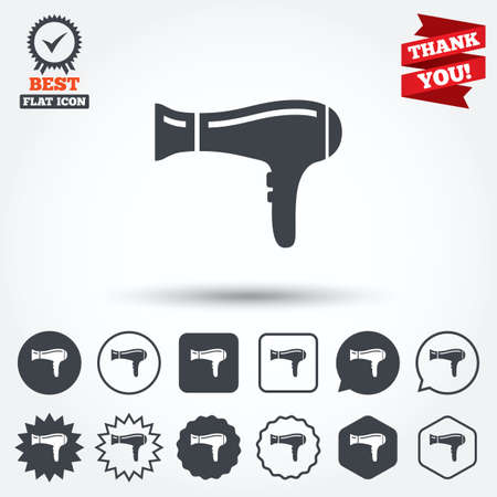 blow drying: Hairdryer sign icon. Hair drying symbol. Circle, star, speech bubble and square buttons. Award medal with check mark. Thank you ribbon. Vector Illustration