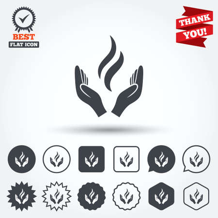 Energy hands sign icon. Power from hands symbol. Circle, star, speech bubble and square buttons. Award medal with check mark. Thank you ribbon. Vector