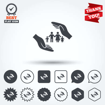 star of life: Family life insurance sign icon. Hands protect human group symbol. Health insurance. Circle, star, speech bubble and square buttons. Award medal with check mark. Thank you ribbon. Vector