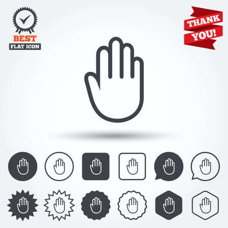 give me five: Hand sign icon. No Entry or stop symbol. Give me five. Circle, star, speech bubble and square buttons. Award medal with check mark. Thank you ribbon. Vector