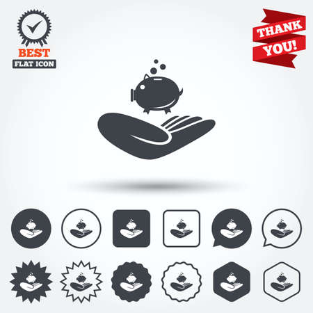 endowment: Donation hand sign icon. Hand holds Piggy bank. Charity or endowment symbol. Human helping hand palm. Circle, star, speech bubble and square buttons. Award medal with check mark. Thank you ribbon. Vector