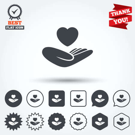 Life insurance sign. Hand holds human heart symbol. Health insurance. Circle, star, speech bubble and square buttons. Award medal with check mark. Thank you ribbon. Vector Vector