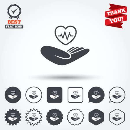 star life: Signo seguro de vida. La mano sostiene el s�mbolo del coraz�n humano. El seguro de salud. C�rculo, estrella, burbuja del discurso y los botones cuadrados. Medalla de la concesi�n con la marca de verificaci�n. Gracias cinta. Vector Vectores