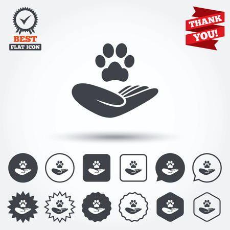 animal shelter: Shelter pets sign icon. Hand holds paw symbol. Animal protection. Circle, star, speech bubble and square buttons. Award medal with check mark. Thank you ribbon. Vector