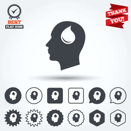 Head with blood drop sign icon. Male human head symbol. Circle, star, speech bubble and square buttons. Award medal with check mark. Thank you ribbon. Vector Vector