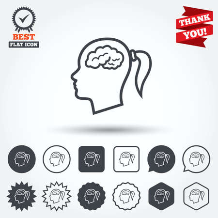 pigtail: Head with brain sign icon. Female woman human head think symbol. Circle, star, speech bubble and square buttons. Award medal with check mark. Thank you ribbon. Vector