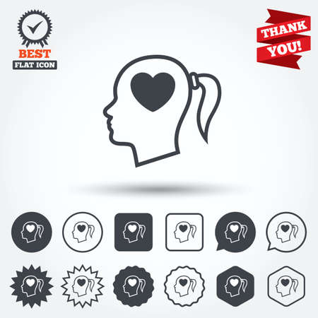 pigtail: Head with heart sign icon. Female woman human head in love with pigtail symbol. Circle, star, speech bubble and square buttons. Award medal with check mark. Thank you ribbon. Vector