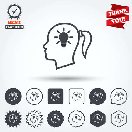 pigtail: Head with lamp bulb sign icon. Female woman human head idea with pigtail symbol. Circle, star, speech bubble and square buttons. Award medal with check mark. Thank you ribbon. Vector Illustration