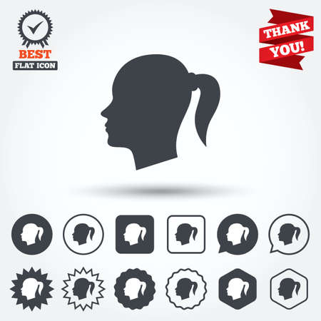 pigtail: Head sign icon. Female woman human head with pigtail symbol. Circle, star, speech bubble and square buttons. Award medal with check mark. Thank you ribbon. Vector Illustration
