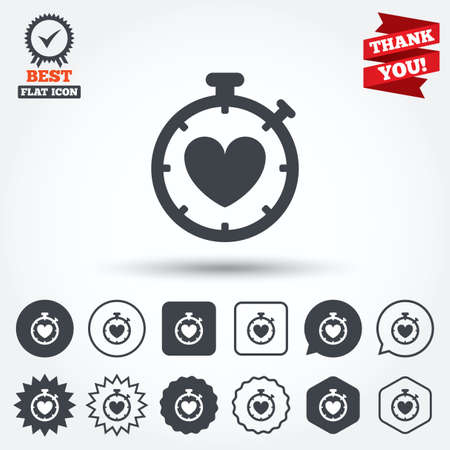 palpitation: Heart Timer sign icon. Stopwatch symbol. Heartbeat palpitation. Circle, star, speech bubble and square buttons. Award medal with check mark. Thank you ribbon. Vector