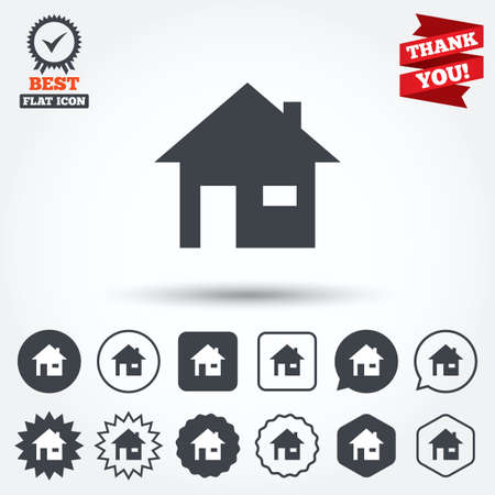 window seal: Home sign icon. Main page button. Navigation symbol. Circle, star, speech bubble and square buttons. Award medal with check mark. Thank you ribbon. Vector