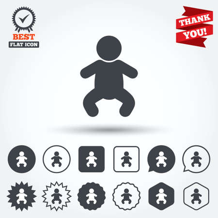crawlers: Baby infant sign icon. Toddler boy in pajamas or crawlers body symbol. Child WC toilet. Circle, star, speech bubble and square buttons. Award medal with check mark. Thank you ribbon. Vector