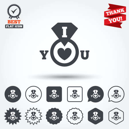 i love you sign: I Love you sign icon. Valentines day symbol. Circle, star, speech bubble and square buttons. Award medal with check mark. Thank you ribbon. Vector