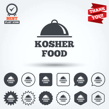 jewish food: Kosher food product sign icon. Natural Jewish food with platter serving symbol. Circle, star, speech bubble and square buttons. Award medal with check mark. Thank you ribbon. Vector Illustration