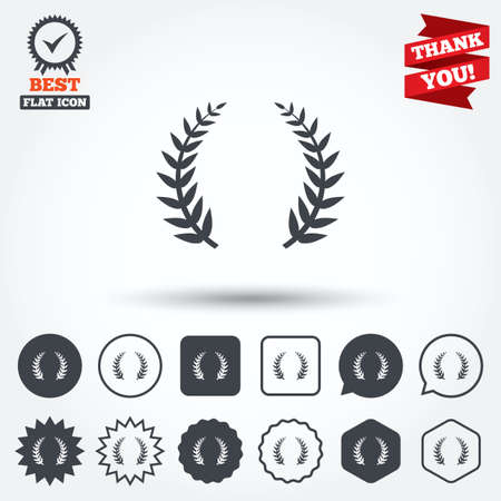 the triumph: Laurel Wreath sign icon. Triumph symbol. Circle, star, speech bubble and square buttons. Award medal with check mark. Thank you ribbon. Vector