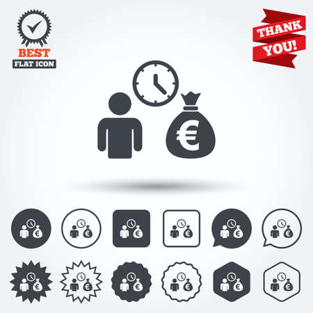 fast money: Bank loans sign icon. Get money fast symbol. Borrow money. Circle, star, speech bubble and square buttons. Award medal with check mark. Thank you ribbon. Vector Illustration