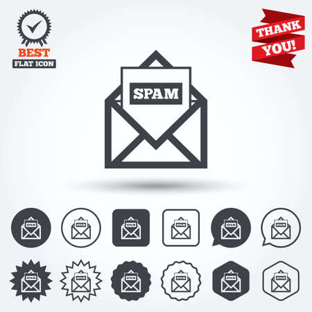 spam mail: Mail icon. Envelope symbol. Message spam sign. Mail navigation button. Circle, star, speech bubble and square buttons. Award medal with check mark. Thank you ribbon. Vector